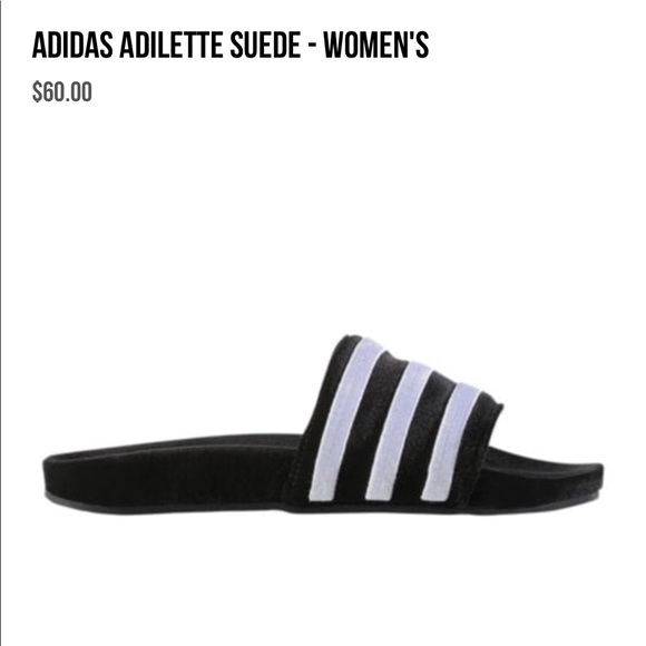 adidas Shoes - Adidas Velvet Adilette Sandal in Black 3aa7c0c10